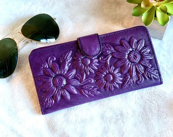 Sunflowers wallets for women - Handmade leather woman wallet - birthday Gift - Christmas gift for her