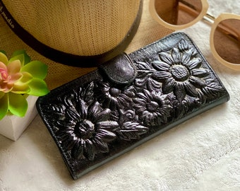 Sunflowers leather wallet - Sunflowers gift - Bohemian wallet - gift for her