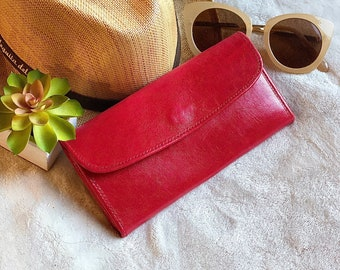 Handmade Leather wallet for woman - Red leather wallet - Wallets for ladies - gift for her - wallet woman leather - woman purse