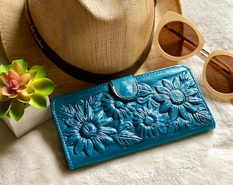 Sunflowers leather wallet - Sunflowers gift - Bohemian wallet