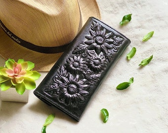 Sunflowers, leather woman wallets, wallets for woman, Christmas gift for woman- gifts for her