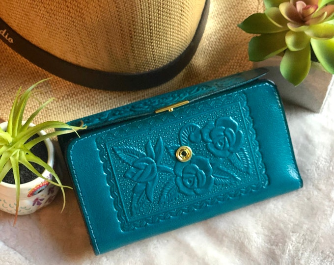 Embossed Handmade Leather Wallet with Roses -  Woman Wallet --Vintage Style leather wallet - gift for her