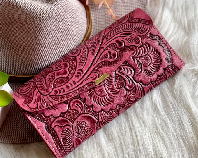 Authentic leather handmade women's wallets • tooled leather wallet •Bohemian gifts for her