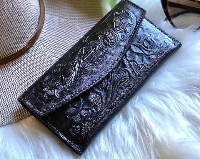 Handmade Leather wallets for women • western wallet woman • tooled leather wallet women • gift for her