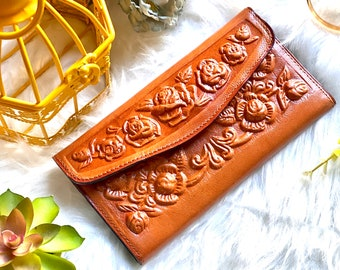 Handmade roses wallet - Floral wallet - leather wallet for women - women's leather wallet - gift for her - birthday gift