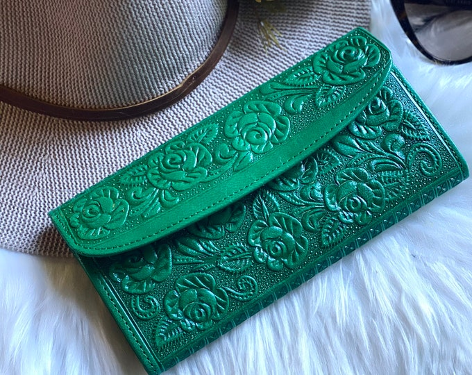 Handmade embossed wallets for women - women's wallets - gifts for her - leather wallets