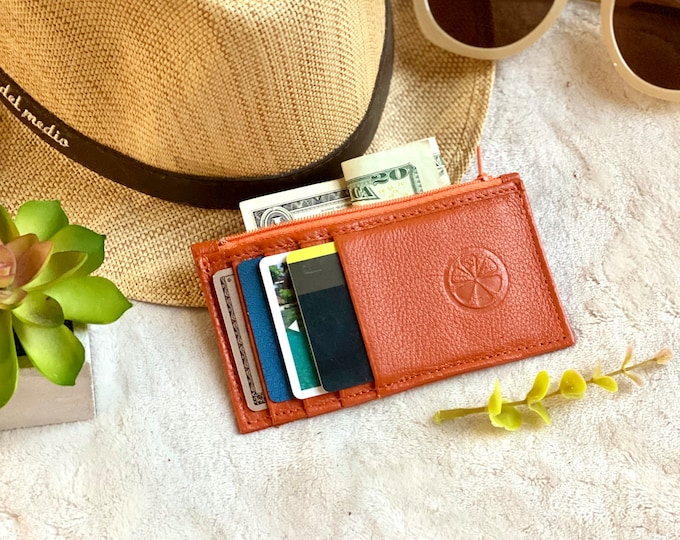 Handmade Leather card holder - card holder - card holder with zipper - gift for her - leather gift - slim leather holder - minimalist wallet