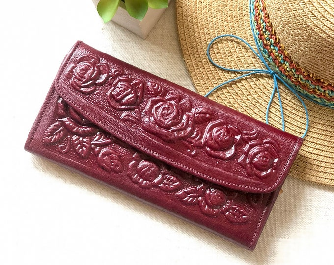 Leather Wallets for Women - bohemian wallet - gifts for her - credit cards wallet for woman - roses wallets - Burgundy wallet