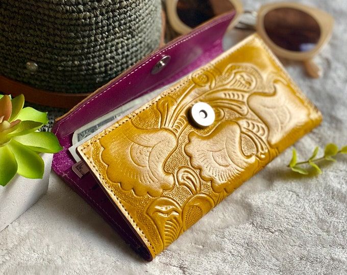 Handcrafted wallets for women - Bicolor wallet  -handmade wallet -yellow leather wallet- woman wallet-leather wallet -gift for her