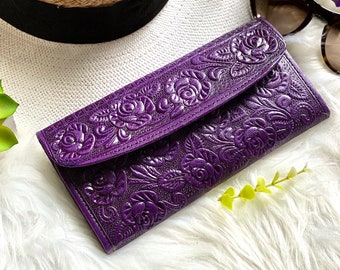 Purple Embossed leather wallets for women- Leather woman wallet -wallet women -Birthday gift - women's wallets
