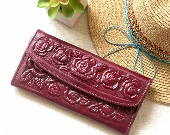 Leather Wallets for Women*Travel Wallet*Flowers Wallet*Trifold Wallet*Friend Birthday Gift*Gift for Woman*Woman Wallet