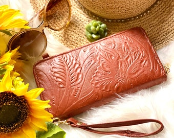 Handcrafted zip around wristlet wallet - Floral crossbody bag - wristlet wallet leather - gifts for her -