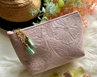 Handcrafted Embossed Makeup Bag - Cosmetic Bag - Floral Bag - Leather cosmetic bag - toiletry bag - Gifts for her