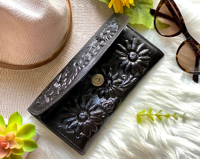 Handcrafted  vintage style authentic leather wallets for women - sunflowers wallets - black leather wallet - gifts for her