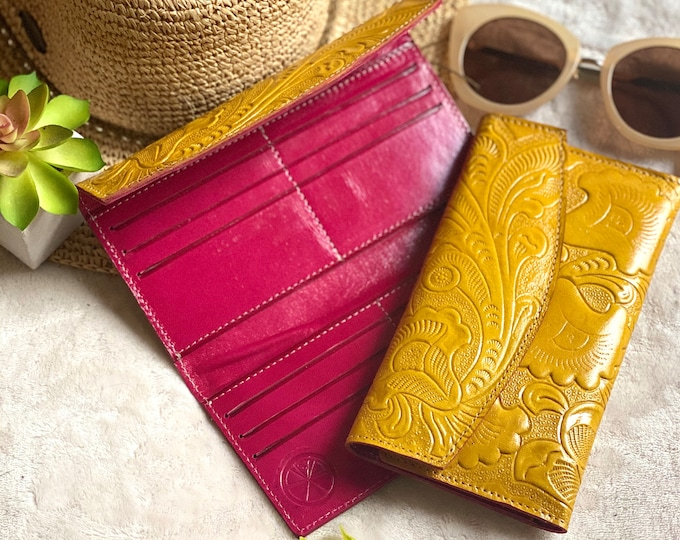 Double color carved flowers wallets for women - Aesthetic wallet -handmade wallet -yellow wallet- woman wallet-leather wallet -gift for her