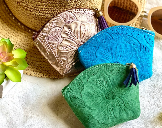 Small handmade leather tooled bag with zipper - leather pouch - leather bag - leather purse - zipper pouch - medicine bag - medicine pouch