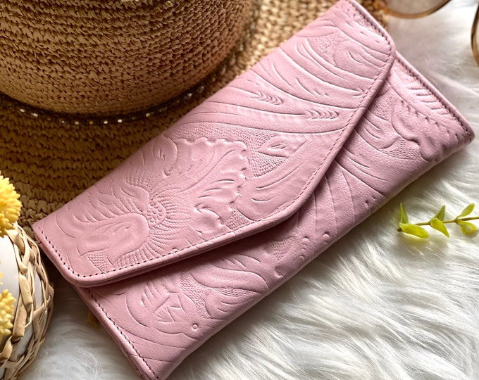 Handmade carved leather woman wallet - leather wallets for women- Gift for wife - Gift for her - Wallet woman leather - Credit cards wallet