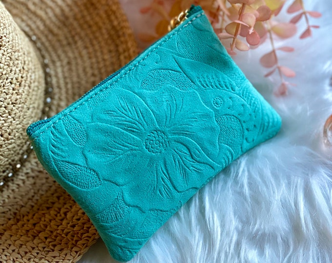 Leather small makeup bag for purse • small cosmetic bag • gifts for her