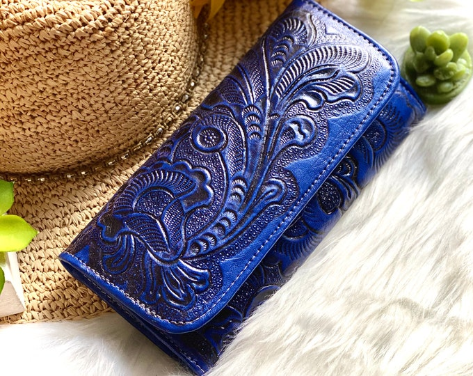 Handcrafted leather wallets for women -Women's long wallet - Birthday gifts for her - blue leather wallet - women purse