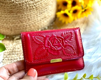 Embossed rose mini wallets for women - gifts for her - woman purse -Small wallet