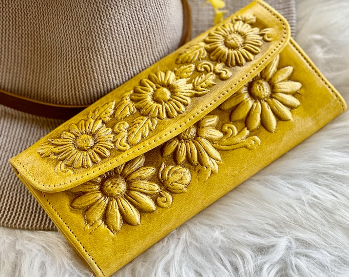 Sunflowers leather women's wallets• gift for her • wallets for woman