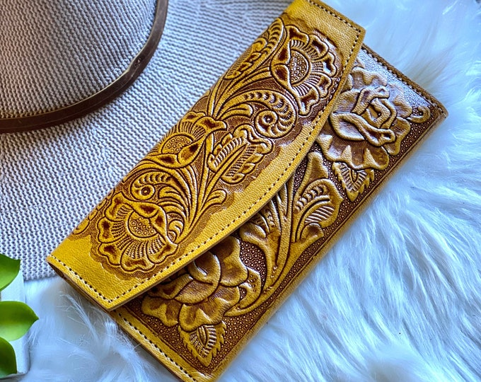 Handcrafted leather wallets for women • yellow woman wallet • gift for her
