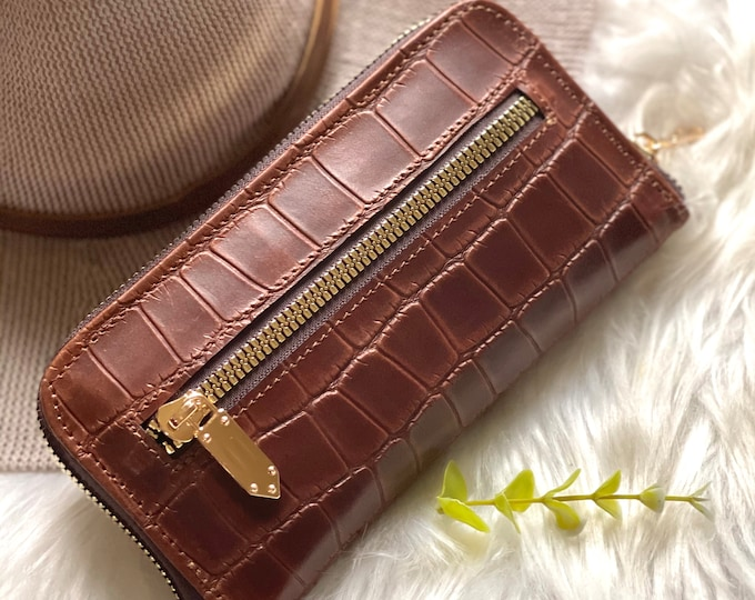 Crocodile print leather wallet- wallet women- womens wallet- gifts for her