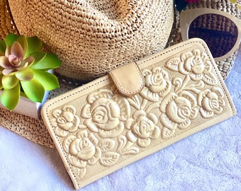 Carved handmade Authentic Leather wallets for women - gifts for her