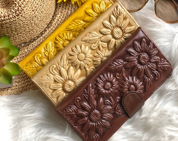 Handmade leather sunflowers wallets for women • gifts for her