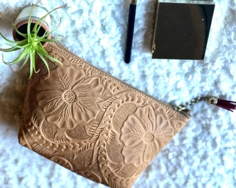 Bohemian Tooled Leather Makeup Bag- Cosmetics Bag- Leather Bag