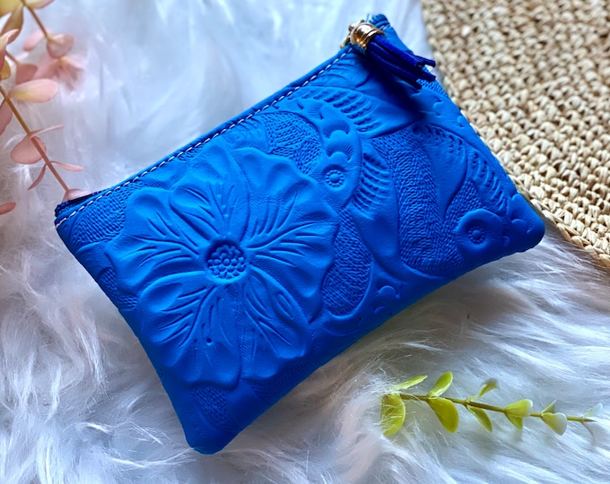 Leather small makeup bag for purse - Small leather bag - Cosmetic bag - gift for her