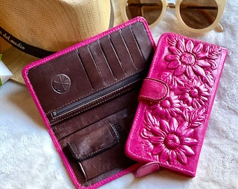Flowers lovers handmade leather woman wallet - Sunflowers woman credit card wallet - gifts for her