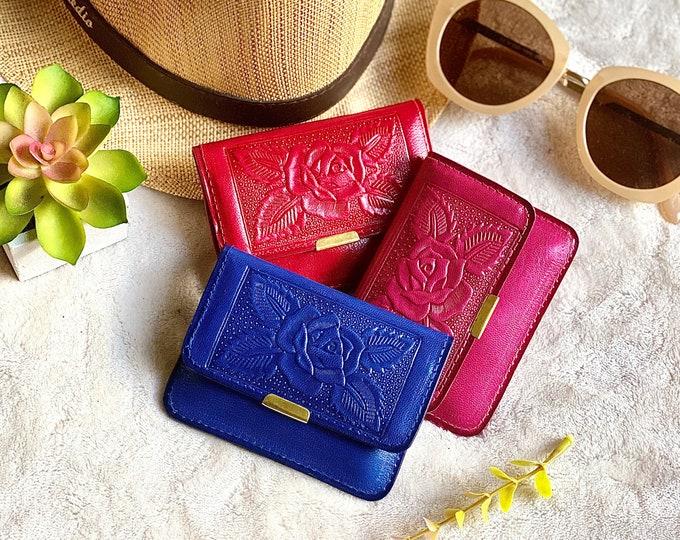 Small wallet for women - Women's wallet -leather woman wallet - handmade leather small wallet - blue small wallet - pink wallet -red purse