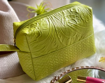 Handmade Cosmetic Bag- Leather embossed Makeup Bag-Gift for her