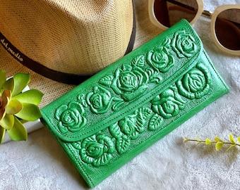 Green Leather Wallet -Wallets for Women- Woman wallet - Leather wallets for women- Flowers Wallet - Gift for Women - woman clutch