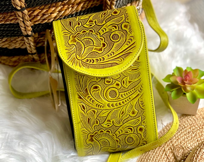Chartreuse Crossbody Bag for women -Messenger Bag-Leather Crossbody Bag -Boho leather bag -Western Bag -Handmade Crossbody -Gifts for women