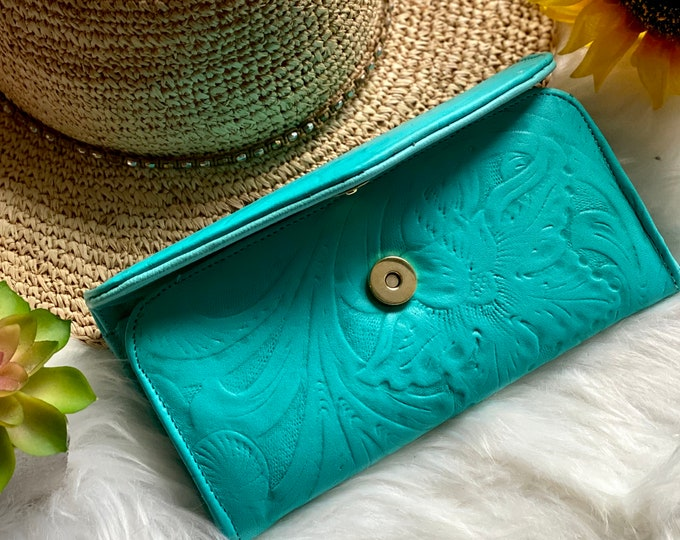 Handcrafted wallets for women - leather wallets - woman wallet - floral - gifts for her - Teal wallets
