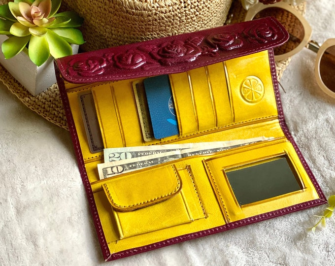 Roses leather wallets - woman wallet leather - gifts for her - wallets for women -  leather wallet