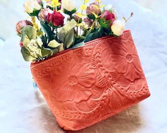 Authentic Leather Tooled Makeup Bag- Handmade Cosmetic Bag- Birthday Present- Gift for her