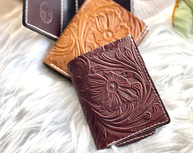 Tooled leather credit card holder • credit card wallet • gifts for her
