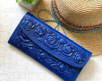 Blue Roses leather wallet- leather wallet- Handmade wallet leather -Wallet Woman- Gift for her