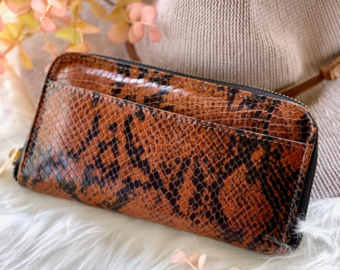 Snake embossed handmade leather wallets • leather purse • gifts for women