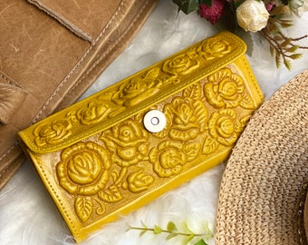 Bohemian Wallet- Gift for her -Gifts for mom - leather wallet women - handmade wallet leather- yellow wallet