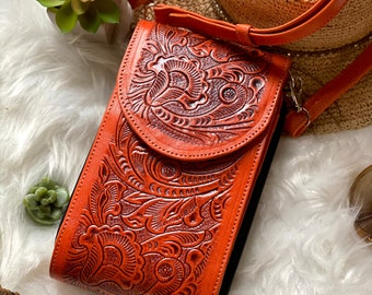 Boho Crossbody Bag • Leather crossbody phone bags • Gifts for her
