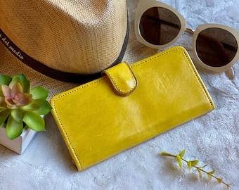 Handmade bifold authentic leather yellow woman wallet -leather wallet woman - girlfriend gift - gifts for her