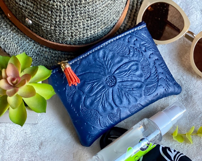 Embossed authentic leather woman pouch - mask and hand sanitizer pouch - leather pouch - woman pouch - leather zipper pouch - pandemic gift