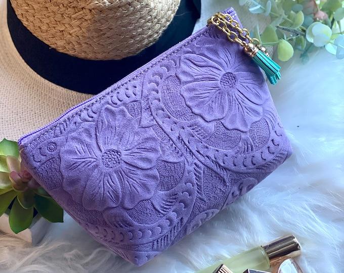 Leather Makeup Bag - Bridesmaid gift- Cosmetic Bag - leather toiletry bag - Honeymoon gift - women bag