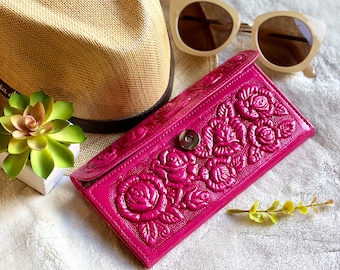 Handmade Bicolor leather wallets for women - wallets for her - Authentic leather wallets - gifts for her - handmade gifts - pink wallet