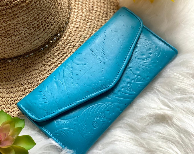 Handcrafted wallets for women - leather wallets - woman wallet - floral - gifts for her -blue  wallets
