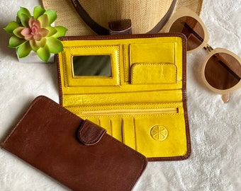 Handmade wallet woman - Leather woman wallet - small wallet - Bicolor wallet - gift for her - bifold wallet- handmade gift